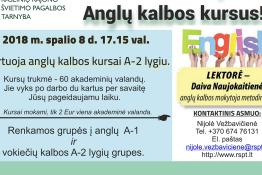 2018 m. spalio 8 d. 17.15 val. startuoja anglų kalbos kursai A-2 lygiu