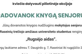 """Raseinių rajono švietimo pagalbos tarnyba kviečia dalyvauti pilietinėje akcijoje """"Padovanok kygą senjorui"""""""